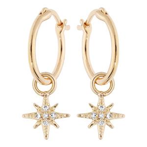 Boucles d\'oreille en plaqué or anneau 12mm avec étoile suspendus - Vue 1