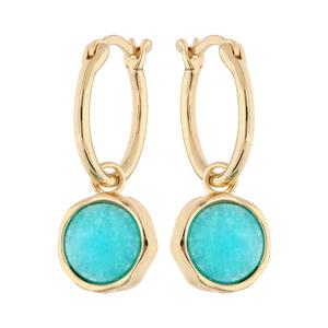 Boucles d\'oreille en plaqué or anneau 15mm suspendu avec pierre Amazonite véritable - Vue 1