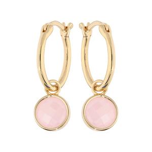 Boucles d\'oreille en plaqué or anneau 15mm suspendu avec pierre facetée ronde couleur rose - Vue 1