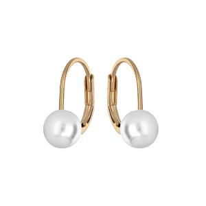 Boucles d\'oreille en plaqué or avec perle blanche de synthèse 6mm et fermoir dormeuse - Vue 1