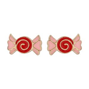 Boucles d\'oreille en plaqué or bonbon rouge et rose et fermoir poussette - Vue 1