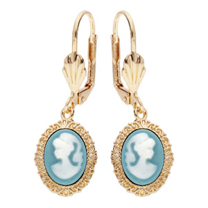 Boucles d\'oreille en plaqué or Camée sur fond turquoise avec fermoir dormeuse - Vue 1