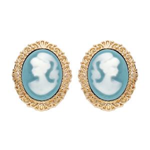 Boucles d\'oreille en plaqué or Camée sur fond turquoise et fermoir poussette - Vue 1