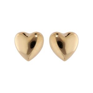 Boucles d\'oreille en plaqué or coeur lisse et fermoir poussette - Vue 1