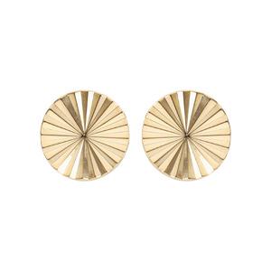Boucles d\'oreille en plaqué or disque ethnique 8 mm et fermoir poussette - Vue 1