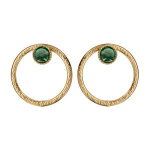 Boucles d\'oreille en plaqué or et pierre malachite véritable ronde et fermoir poussette - Vue 1