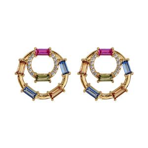 Boucles d\'oreille en plaqué or oxydes multicouleurs sur double cercle et fermoir poussette - Vue 1