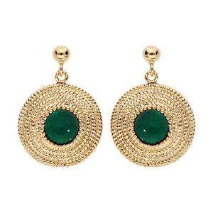 Boucles d\'oreille en plaqué or rond ethnique avec pierre verte - Vue 1