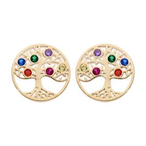 Boucles d\'oreille en plaqué or ronde avec arbre de vie empierré multicolore et fermoir poussette - Vue 1