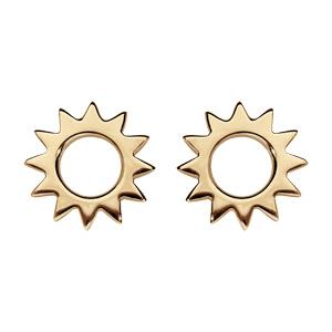 Boucles d\'oreille en plaqué or soleil ajouré et fermoir poussette - Vue 1