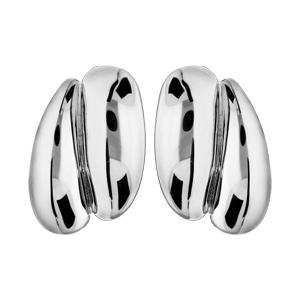 Boucles d\'oreille en plaqué palladium clip double ruban - Vue 1