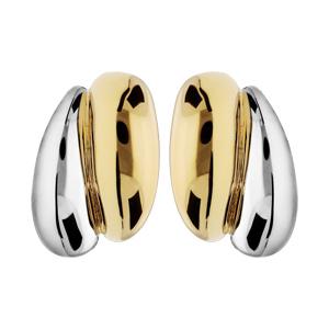 Boucles d\'oreille en plaqué palladium et dorure clip double ruban - Vue 1