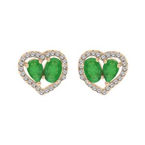Boucles d\'oreille en vermeil 2 Emeraudes véritables contour coeur Topazes blanches serties et fermoir poussette - Vue 1