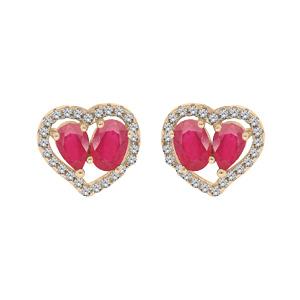 Boucles d\'oreille en vermeil 2 Rubis véritables contour coeur Topazes blanches serties et fermoir poussette - Vue 1