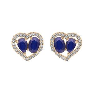 Boucles d\'oreille en vermeil 2 Saphirs véritables et contour coeur Topazes blanches serties et fermoir poussette - Vue 1