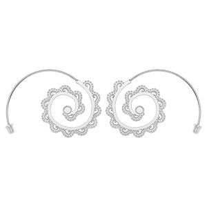 Boucles d\'oreille passantes en argent rhodié ethnique avec motif spirale dentelé - Vue 1