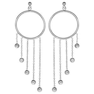 Boucles d\'oreille pendantes en acier anneau et 4 chaînettes avec boules et fermoir poussette - Vue 1