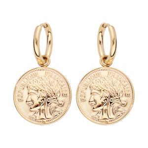 Boucles d\'oreille pendantes en acier et PVD jaune fausse pièce de monnaie - Vue 1