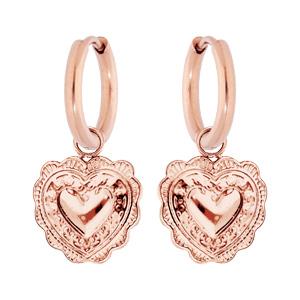 Boucles d\'oreille pendantes en acier et PVD rose coeur suspendu - Vue 1