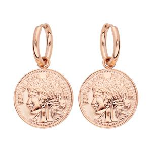 Boucles d\'oreille pendantes en acier et PVD rose fausse pièce de monnaie - Vue 1