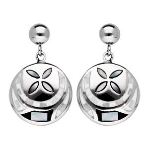 Boucles d\'oreille pendantes en acier Stella Mia ronde motif fleur noir et blanc avec nacre et fermoir poussette - Vue 1