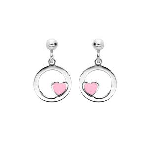 Boucles d\'oreille pendantes en argent rhodié anneau suspendu avec coeur rose et fermoir poussette - Vue 1