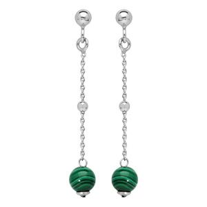 Boucles d\'oreille pendantes en argent rhodié avec 1 boule malachite et fermoir poussette - Vue 1