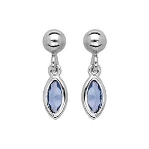 Boucles d\'oreille pendantes en argent rhodie avec navette bleu moyen et fermoir poussette - Vue 1