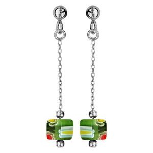 Boucles d\'oreille pendantes en argent rhodié chaînette avec cube en verre vert et fermoir poussette - Vue 1