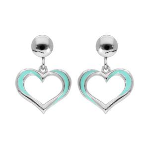Boucles d\'oreille pendantes en argent rhodié coeur suspendu turquoise et fermoir poussette - Vue 1