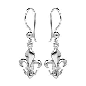 Boucles d\'oreille pendantes en argent rhodié crochet fleur de lys et fermoir crochet - Vue 1