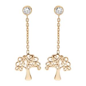 Boucles d\'oreille pendantes en argent rhodié et dorure jaune chaînette avec arbre de vie et fermoir poussette - Vue 1