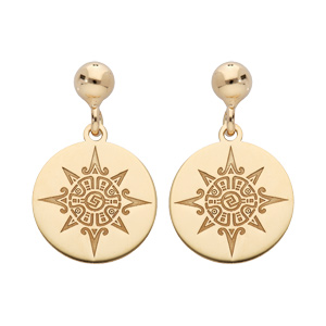 Boucles d\'oreille pendantes en argent rhodié et dorure jaune pastille motif soleil stylisé et fermoir poussette - Vue 1