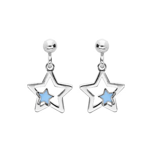 Boucles d\'oreille pendantes en argent rhodié étoile suspendue avec étoile bleue et fermoir poussette - Vue 1