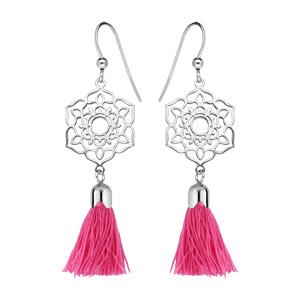 Boucles d\'oreille pendantes en argent rhodié fleur ajourée avec pompon rose et fermoir crochet - Vue 1