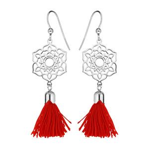 Boucles d\'oreille pendantes en argent rhodié fleur ajourée avec pompon rouge et fermoir crochet - Vue 1