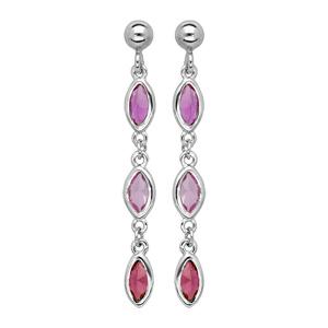 Boucles d\'oreille pendantes en argent rhodié 3 oxydes sertis degrade de rose et fermoir poussette - Vue 1