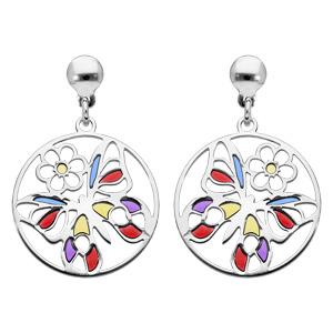 Boucles d\'oreille pendantes en argent rhodié papillon et fermoir poussette - Vue 1
