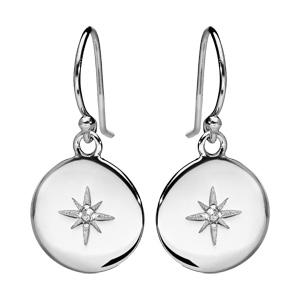 Boucles d\'oreille pendantes en argent rhodié pastille avec étoile oxyde blanc sertis et fermoir crochet - Vue 1