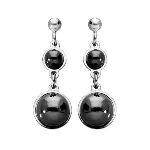 Boucles d\'oreille pendantes en argent rhodié perles noires en verre de Swarovski suspendues et fermoir poussette - Vue 1