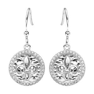 Boucles d\'oreille pendantes en argent rhodié rond suspendu avec fleur de lys et fermoir crochet - Vue 1