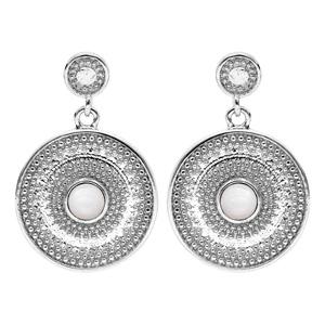 Boucles d\'oreille pendantes en argent rhodié rond suspendu avec Nacre véritable et fermoir poussette - Vue 1