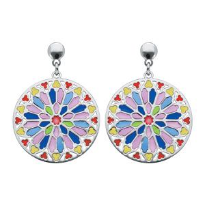 Boucles d\'oreille pendantes en argent rhodié rosace colorée et fermoir poussette - Vue 1