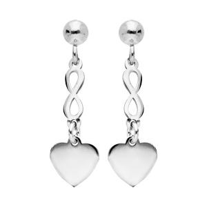 Boucles d\'oreille pendantes en argent rhodié symboles coeur et infini suspendus et fermoir poussette - Vue 1