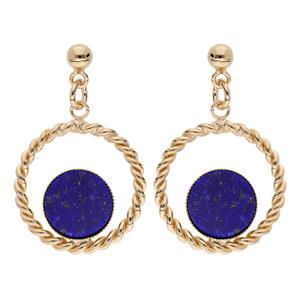 Boucles d\'oreille pendantes en plaqué or anneau torsadé suspendu avec pierre Lapis Lazuli véritable et fermoir poussette - Vue 1