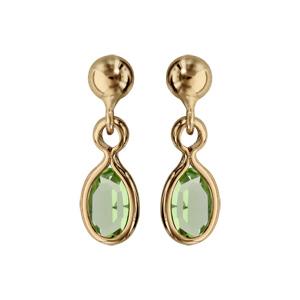 Boucles d\'oreille pendantes en plaqué or avec navette vert foncé et fermoir poussette - Vue 1