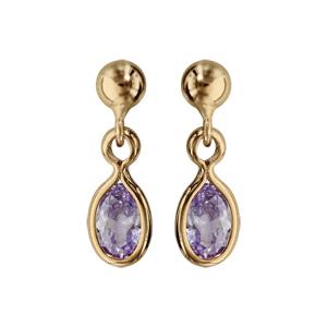 Boucles d\'oreille pendantes en plaqué or avec navette violet clair et fermoir poussette - Vue 1