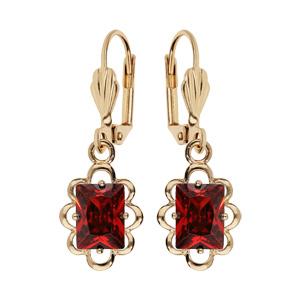 Boucles d\'oreille pendantes en plaqué or avec pierre carre rouge serti et fermoir dormeuse - Vue 1