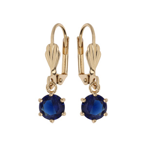Boucles d\'oreille pendantes en plaqué or avec pierre ronde bleu nuit serti griffes et fermoir dormeuse - Vue 1