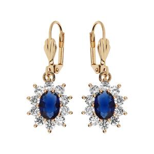 Boucles d\'oreille pendantes en plaqué or collection joaillerie avec pierre ronde bleu nuit contour oxydes blancs sertis et fermoir dormeuse - Vue 1